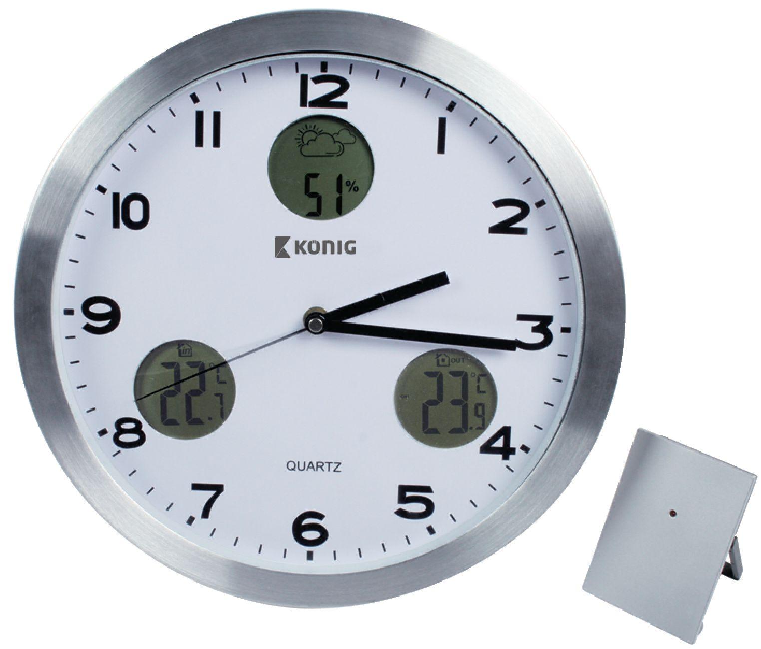 Nástěnné hodiny 30 cm s meteostanicí König KN-CL30N