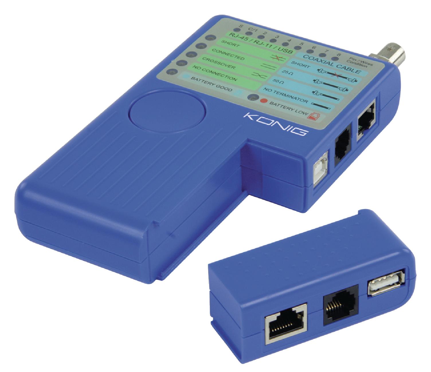 Multifunkční tester kabelů s RJ45, RJ11, USB, BNC König CMP-RCT21
