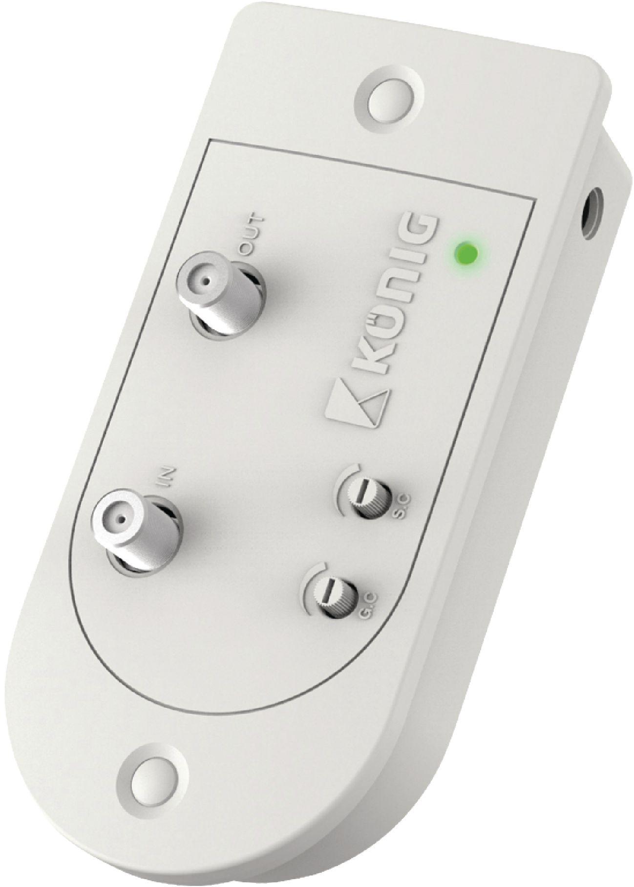 Anténní zesilovač 28 dB s regulací zesílení, zp.kanál, 1 výstup, König KN-PROAMP31