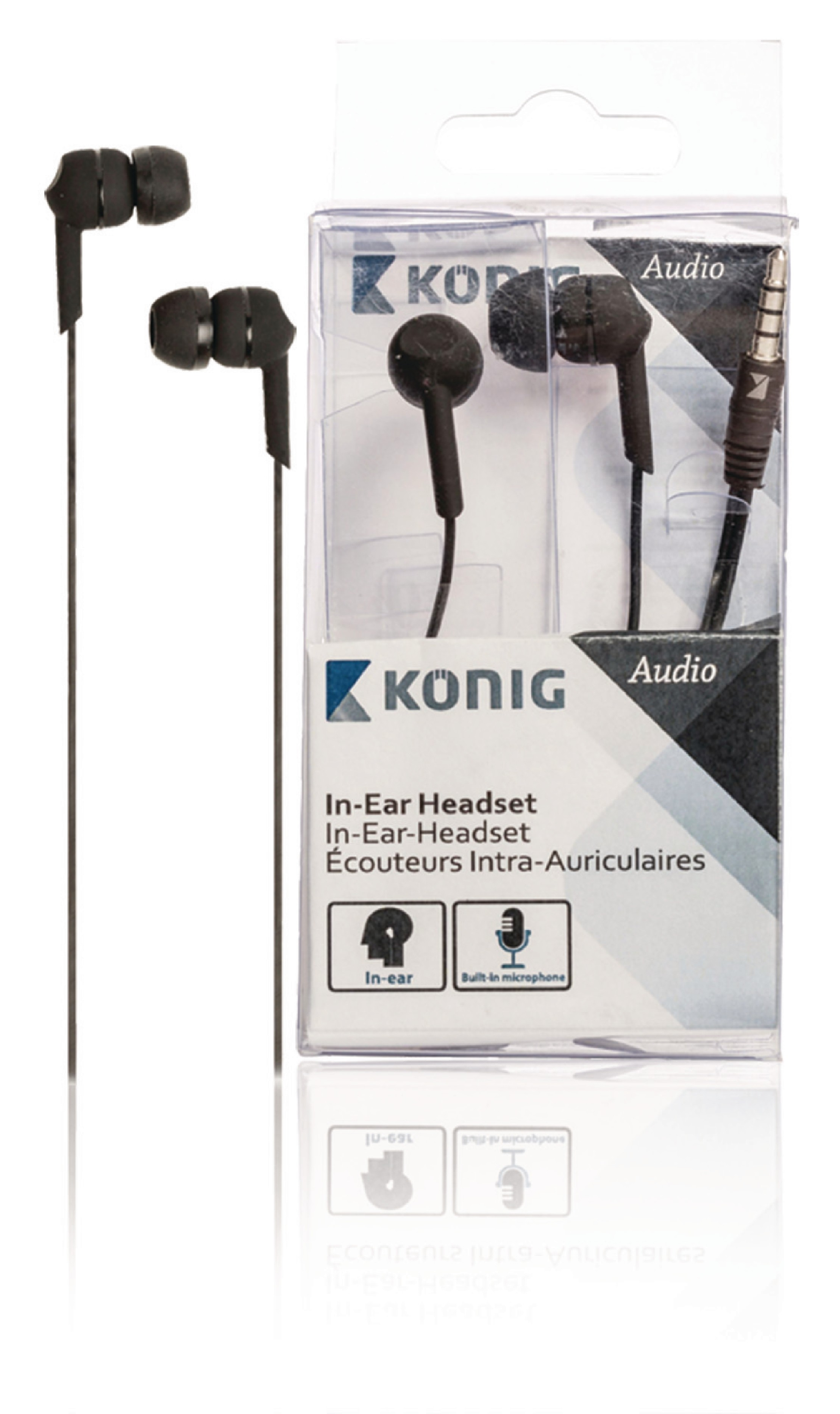 Sluchátka do uší s mikrofonem König CSHSIER300, černá