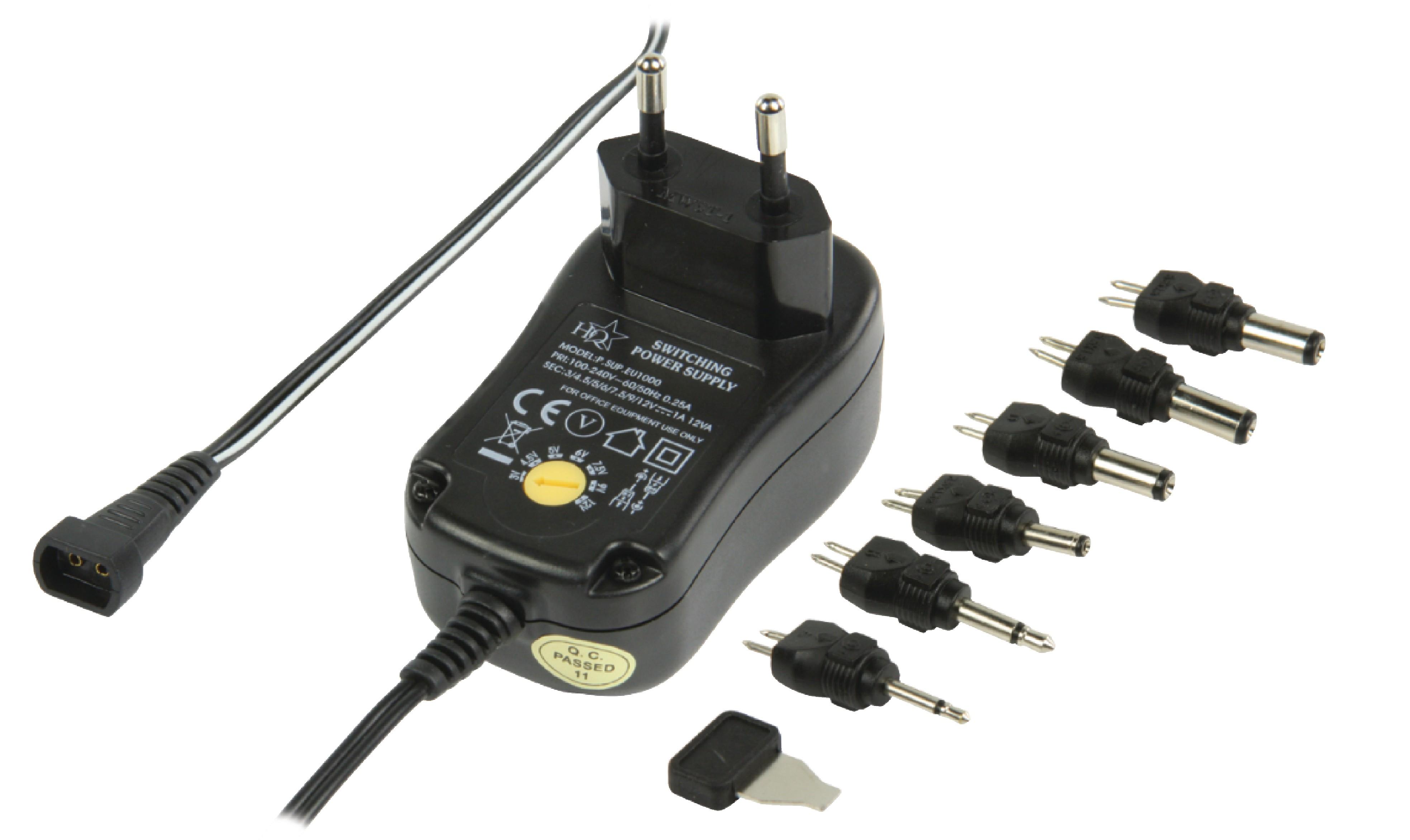 Univerzální napájecí adaptér 3-12V, 1A HQ P.SUP.EU1000