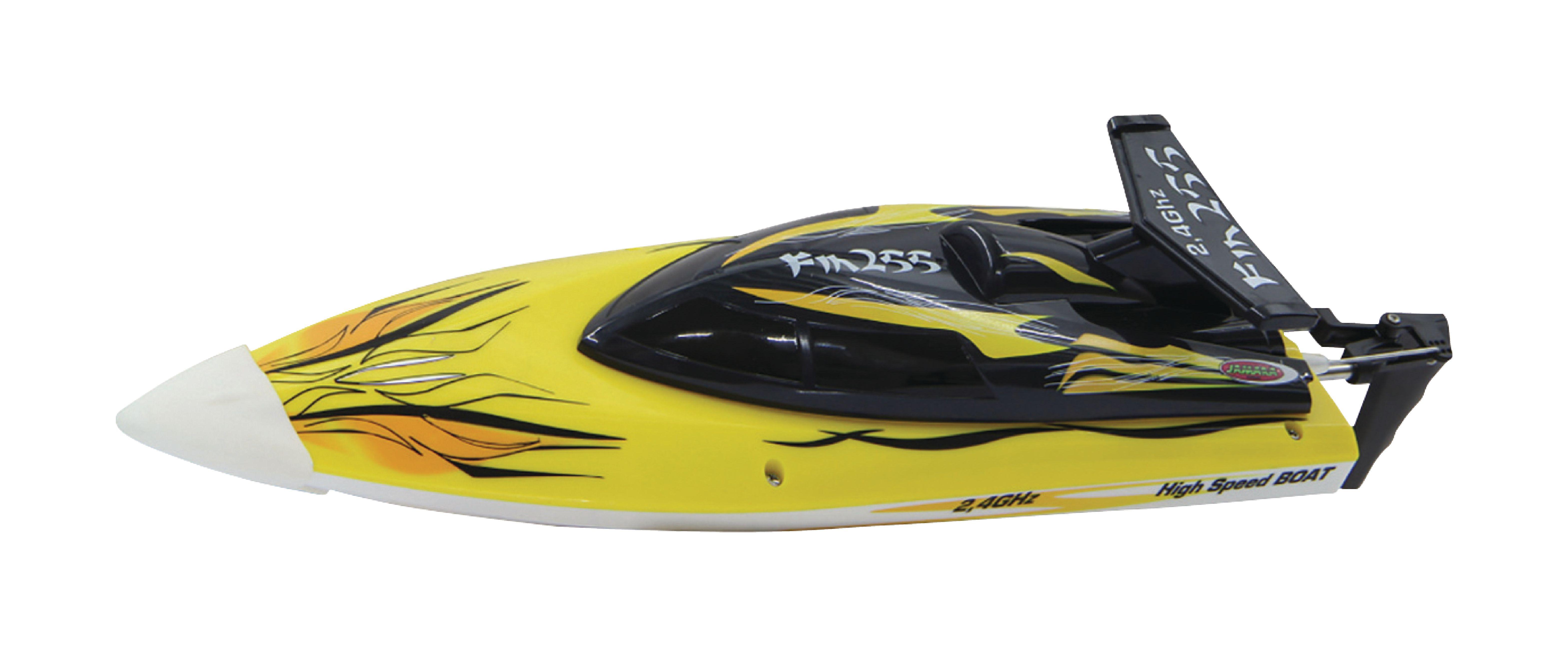 Závodní člun Fin255 na dálkové ovládání 2.4GHz, žlutý, Jamara JAM-040630