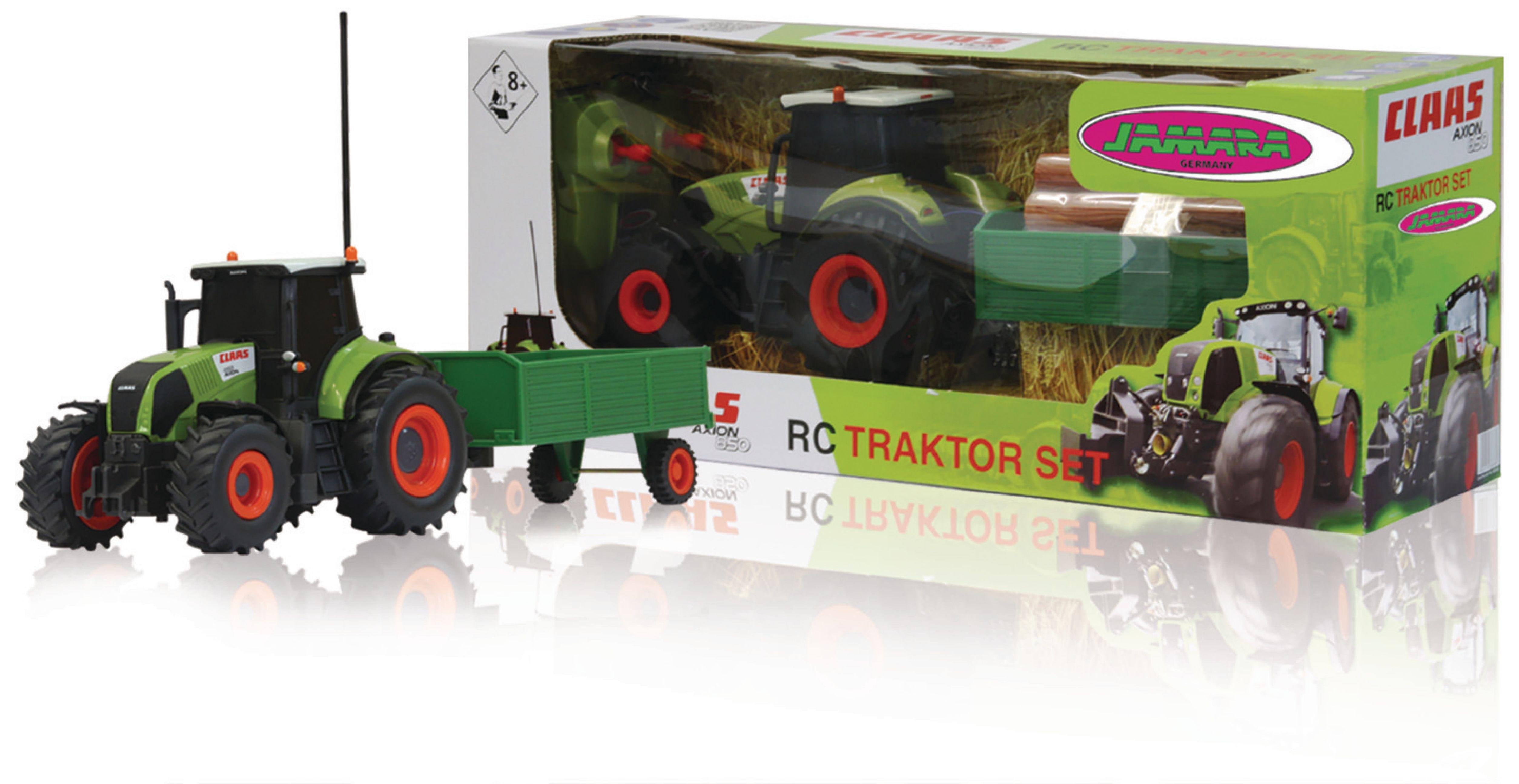 R/C Traktor CLAAS Axion 850 s přívěsem na dřevo RTR 1:28 Zelená