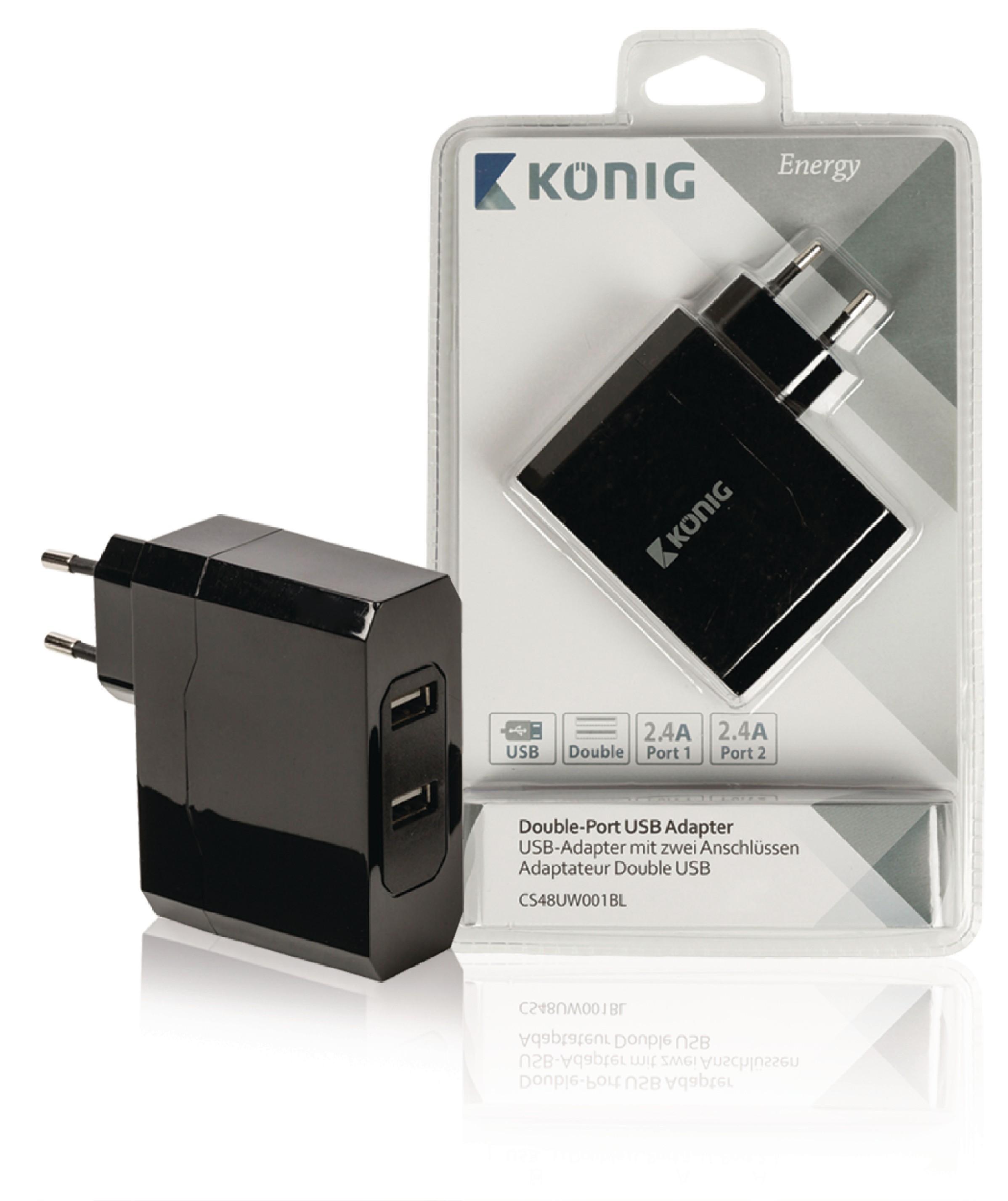 Výkoný USB napájecí adaptér König se 2 porty 2.4A + 2.4A