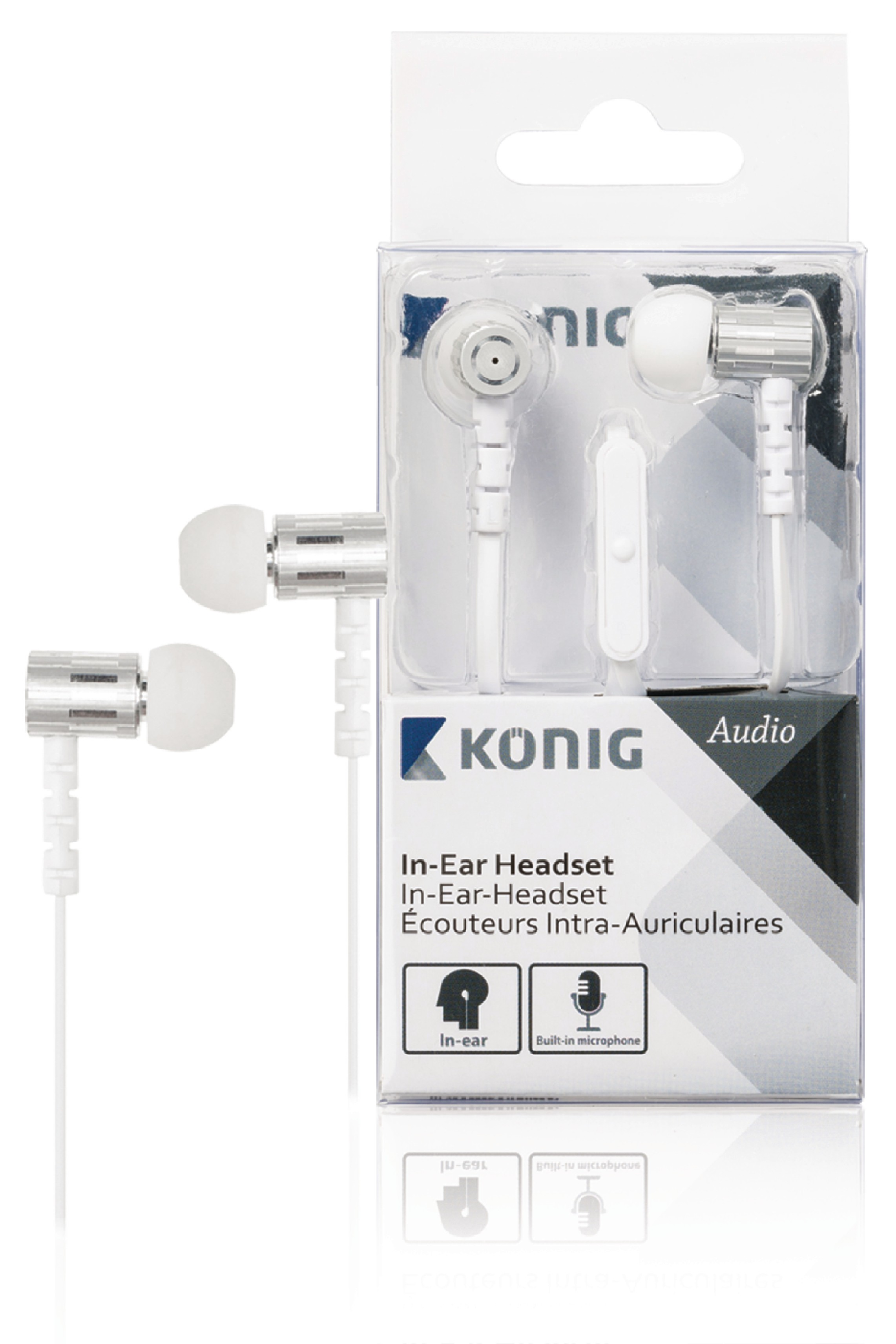 Sluchátka do uší s mikrofonem bílá, König CSHSIEF100WH