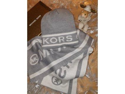 Michael Kors dámská čepice a šála šedivá (Velikost one size)