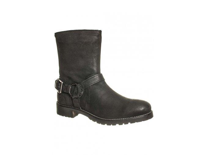 Kickers Dámské kotníkové boty černé kožené (Velikost EU 37)