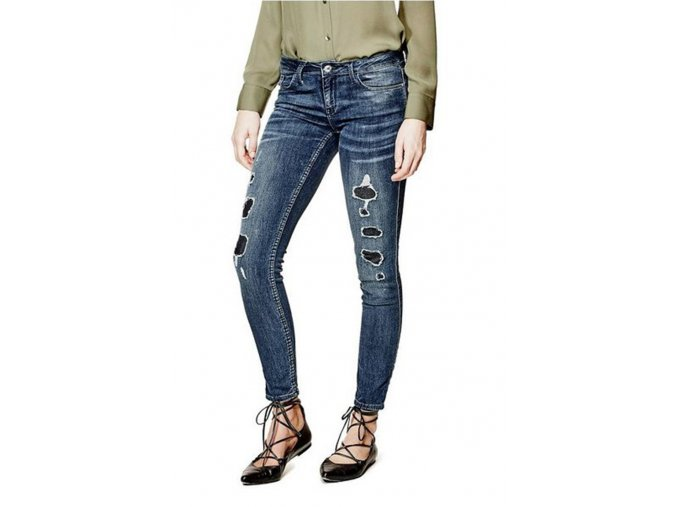 GU297 Guess Low Rise Power Skinny in Waterfront with Destroy Wash