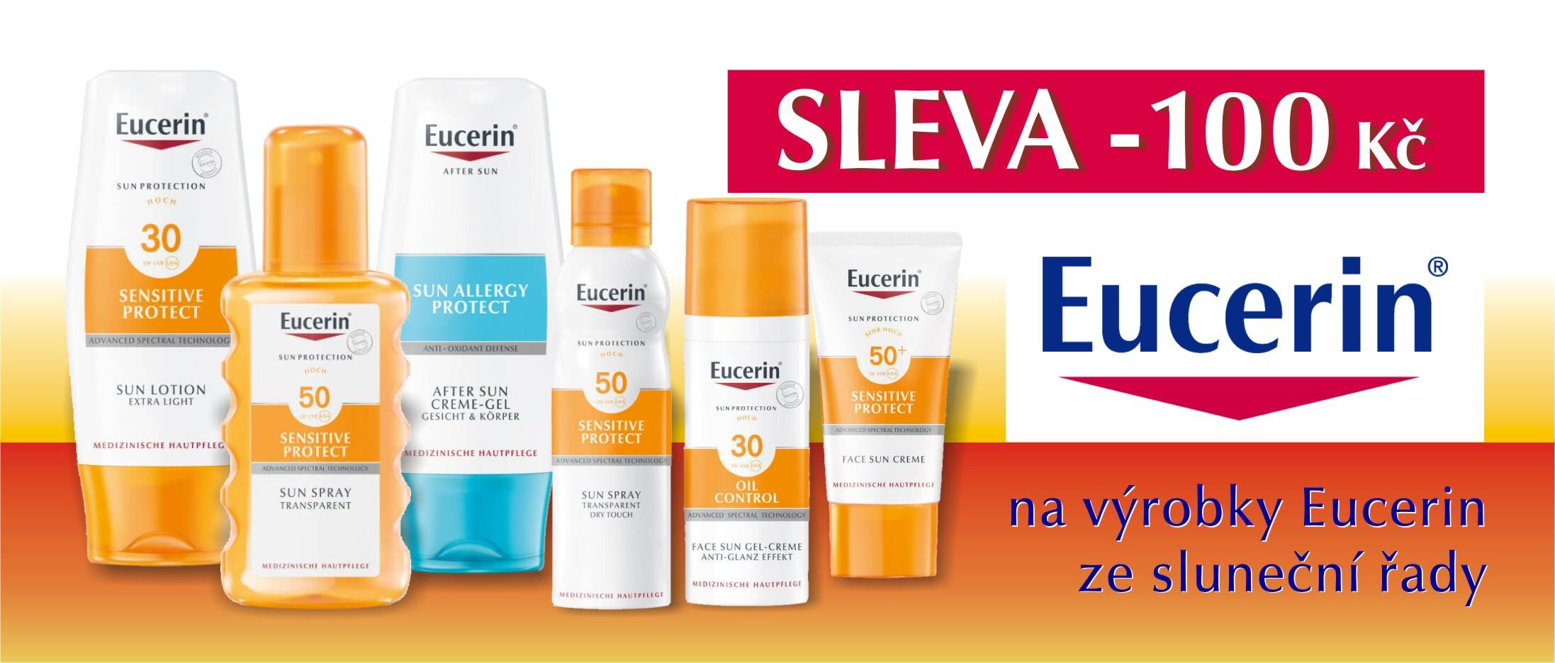 Mimořádná sleva 100 Kč na všechny produkty ze sluneční řady Eucerin Sun!