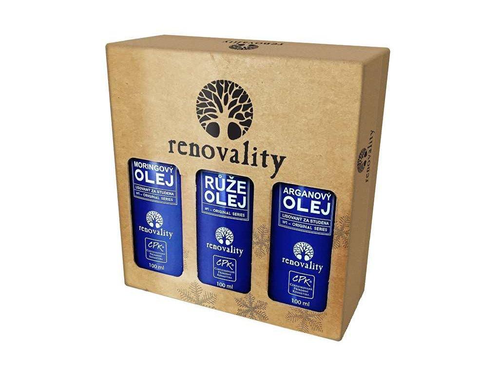 Renovality Vánoční balení olejů - Arganový olej 100 ml + Moringový olej 100 ml + Olej Růže 100 ml