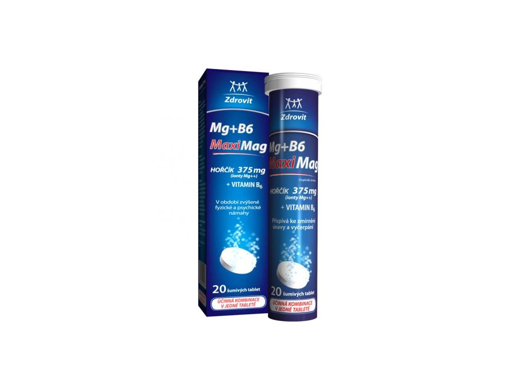Zdrovit MaxiMag Hořčík 375 mg + B6 šumivé tablety 20 tbl.