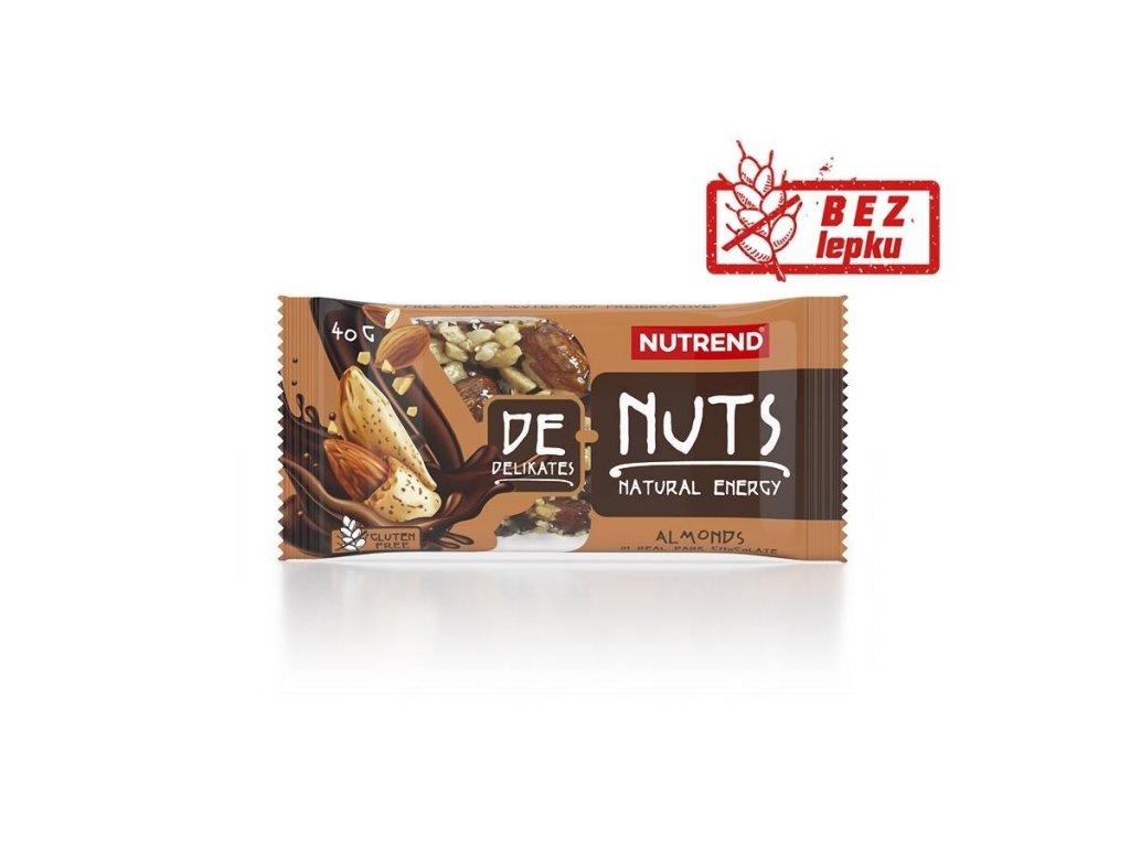 Nutrend DeNuts Mandle v hořké čokoládě 40 g