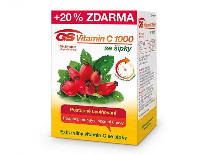 gs vitamin c 1000 sipky 100 tbl 20 tbl zdarma