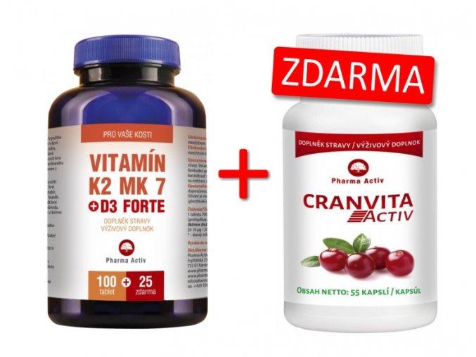 Pharma Activ Vitamín K2 MK7 + D3 FORTE 100 tbl. + 25 tbl. ZDARMA + Cranvita Activ 55 kapslí ZDARM