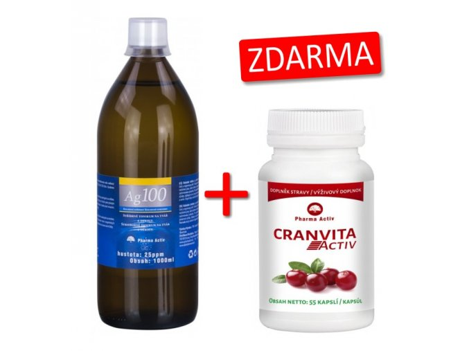 Pharma Activ Koloidní stříbro Ag100 (25ppm) 1000 ml + Cranvita Activ 55 kapslí ZDARMA