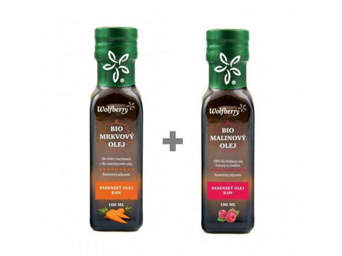 Wolfberry BIO Malinový olej 100 ml + BIO Mrkvový olej 100 ml