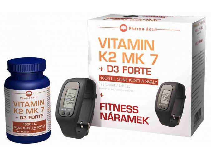 Vitamín K2 MK7 + D3 FORTE 100 tbl. + 25 tbl. ZDARMA + Fitness náramek s krokoměrem ZDARMA