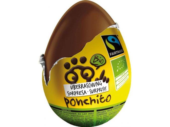 Ponchito BIO čokoládové vajíčko s překvapením 20 g