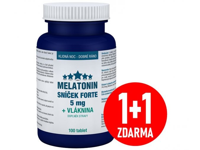 Melatonin 5 mg Sníček FORTE 100 tbl. 1+1 ZDARMA