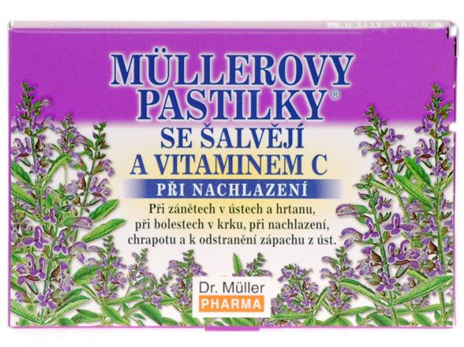Dr. Muller Müllerovy pastilky se šalvějí a vitamínem C 12ks