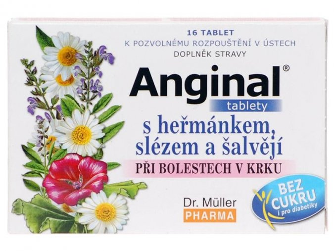 Dr. Muller Anginal tablety s heřmánkem a slézem 16 tbl.