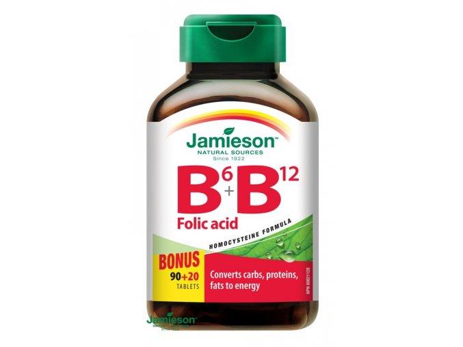 Jamieson Vitamíny B6, B12 a kyselina listová 110 tbl.