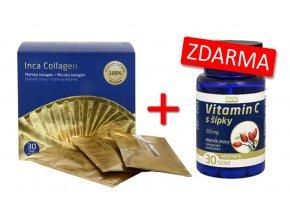 Inca Collagen 90 g (30 sáčků) + Vitamin C extrakt ze šípku 2000 mg 30 kapslí ZDARMA