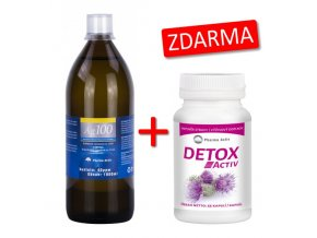 Pharma Activ Koloidní stříbro Ag100 (40ppm) 1000 ml + Detox Activ 55 kapslí ZDARMA