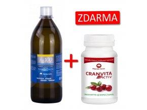 Pharma Activ Koloidní stříbro Ag100 (40ppm) 1000 ml + Cranvita Activ 55 kapslí ZDARMA