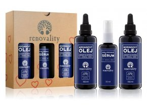 Renovality Dárkové balení - Moringový olej 100 ml + Hyaluronové sérum 50 ml + Arganový olej 100 ml ZDARMA