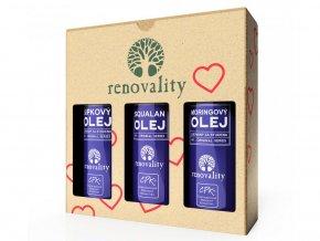Renovality Valentýnské balení olejů II. Moringový olej 100 ml + Šípkový olej 100 ml + Squalan 50 ml