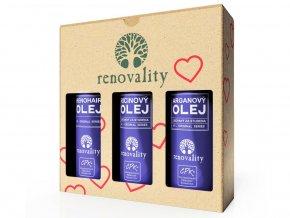 Renovality Valentýnské balení olejů III. Arganový olej 100 ml + Renohair olej 100 ml + Ricinový olej za studena lisovaný 100ml ZDARMA