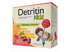 Detritin Kids lízátka na imunitu višeň 12 ks