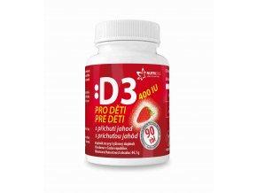 Nutricius Vitamín D3 400IU pro děti jahoda tbl.90