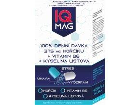 IQ Mag hořčík 375 mg + B6 + kyselina listová 30 kapslí