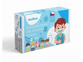 Dětská obličejová maska pro kluky - modrá 25 ks