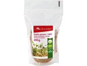 ZdravýDen®  BIO Směs semen na klíčení 1 -  alfalfa, ředkvička, mungo 200 g