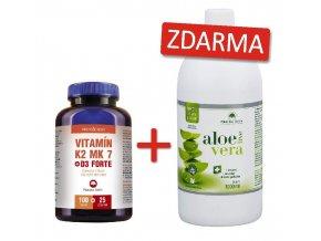 Vitamin K MK7 D3 FORTE 100+25tbl ZDARMA+aloe vera live 1but zdarma