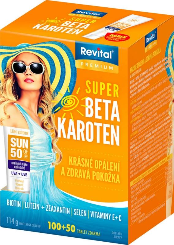 Vitar Revital Super beta-karoten 100 tbl. + 50 tbl. ZDARMA + opalovací mléko OF 50 ZDARMA