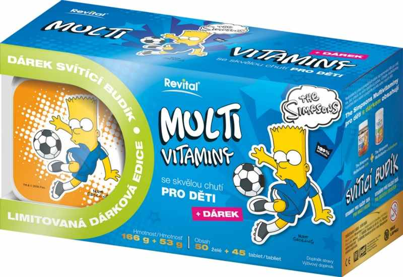 Vitar The Simpsons Multivitaminy 50 želé + 45 tablet + budík BART