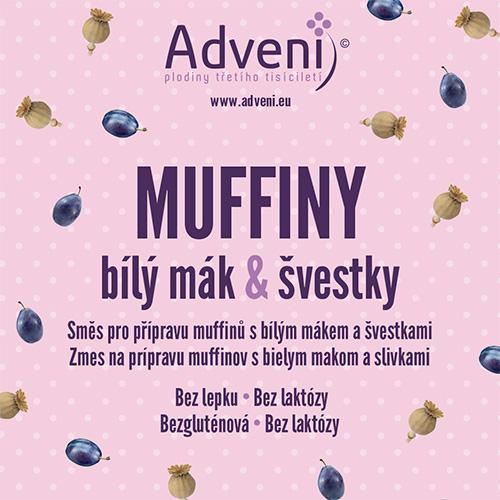 Adveni Muffiny bílý mák & švestky 280 g