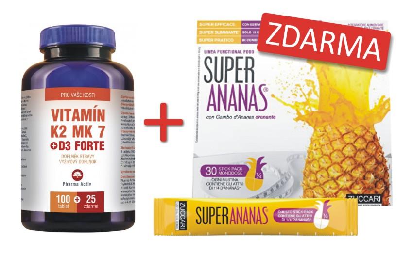 Pharma Activ Vitamín K2 MK7 + D3 FORTE 100 tbl. + 25 tbl. ZDARMA