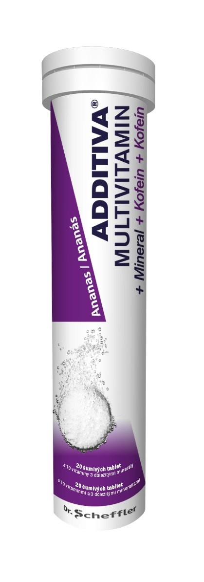 Additiva Multivitamin + Mineral + Kofein ananas 20 tbl.