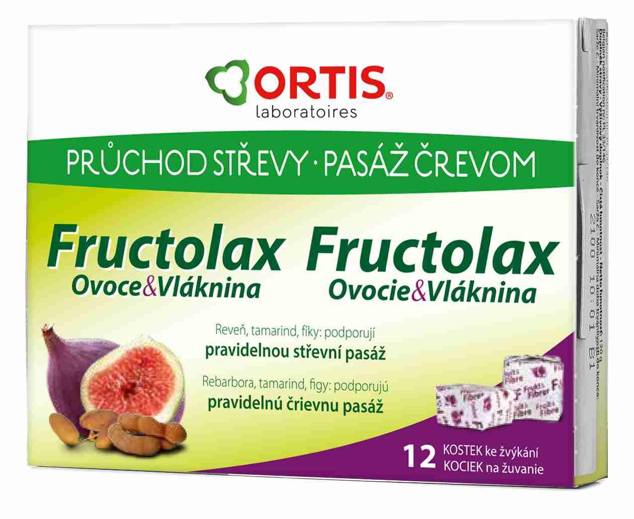 Ortis Fructolax Ovoce&Vláknina žvýkací kostky 12 kusů