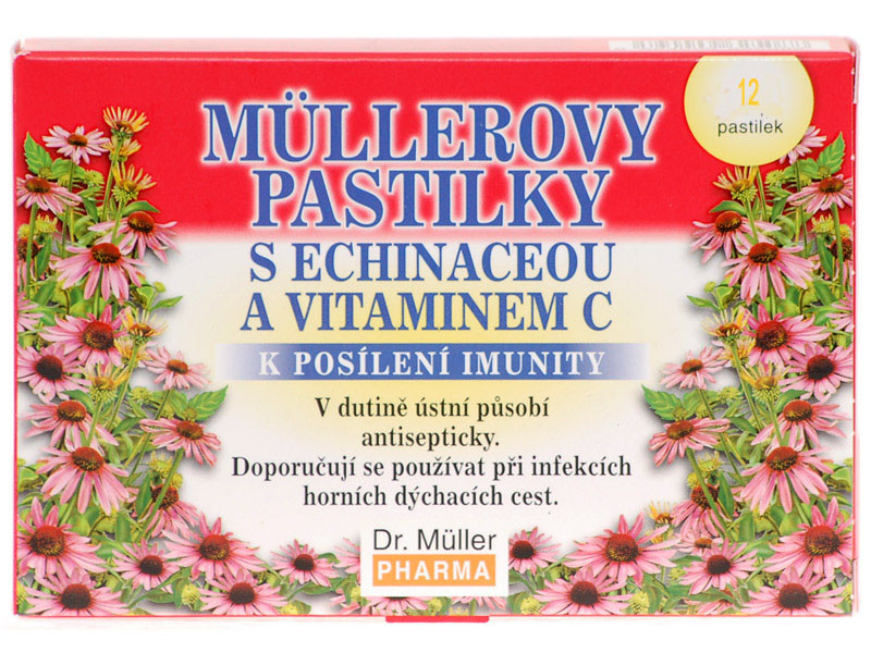 Dr. Müller Dr. Muller Müllerovy pastilky s echinaceou a vitamínem C 12ks