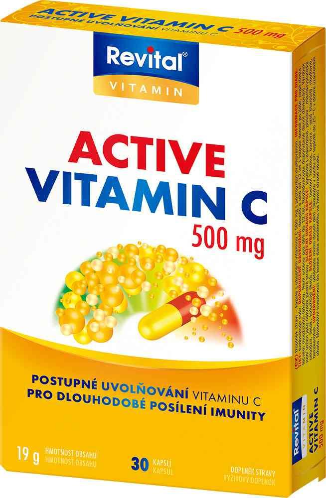 Vitar Revital Active vitamin C 500mg 30 kapslí