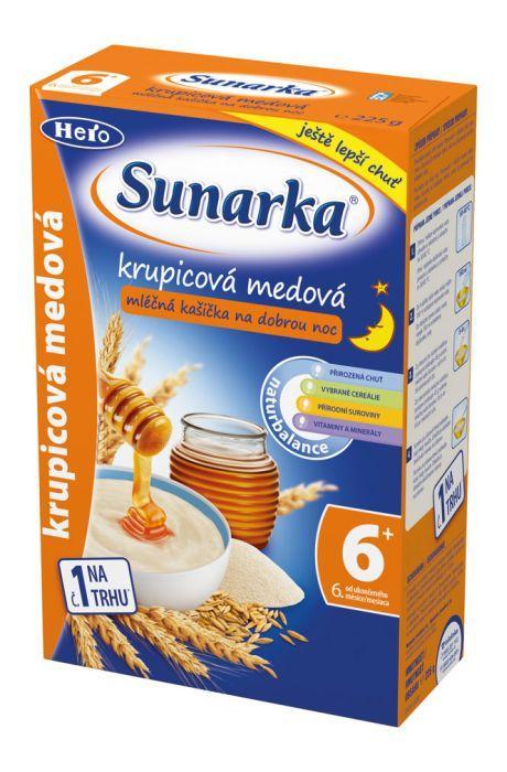 Hero Sunarka krupicová kašička s medem na dobrou noc mléčná 225 g