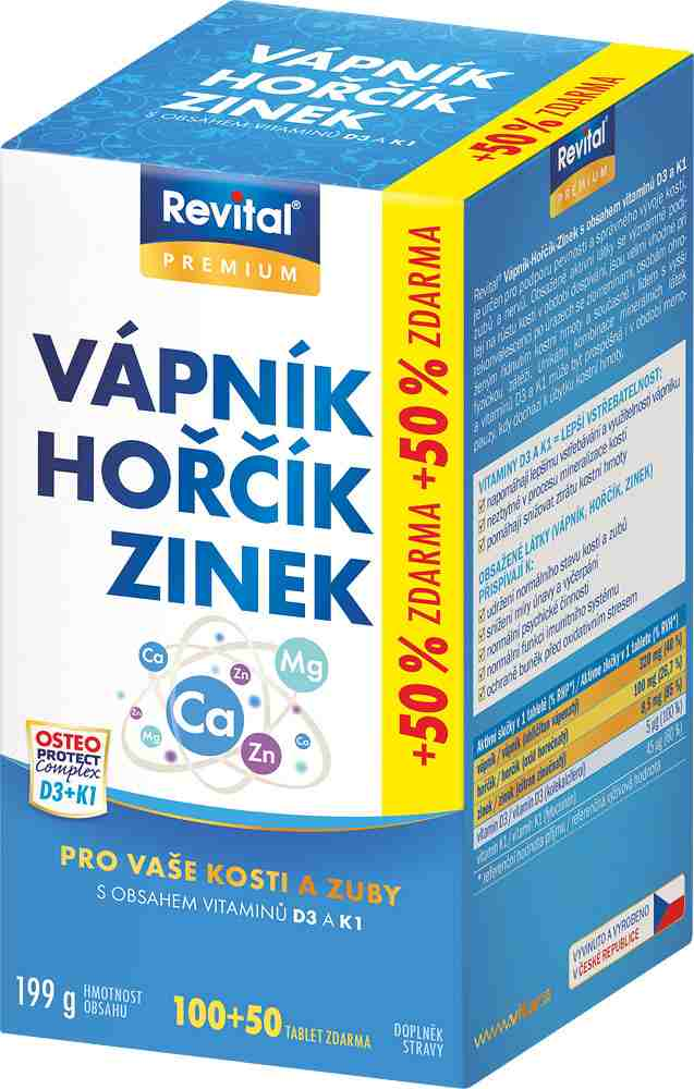 Vitar Revital Vápník+hořčík+zinek+vitamín D3+vitamín K1 100 tbl. + 50 tbl. ZDARMA