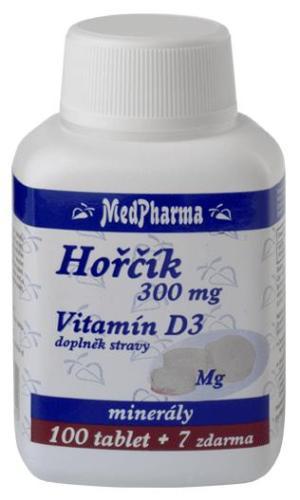 MedPharma Hořčík 300 mg + vitamín D3 100 tbl. + 7 tbl. ZDARMA