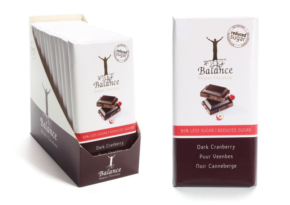 Balance hořká čokoláda s brusinkami, bez přidaného cukru 85g